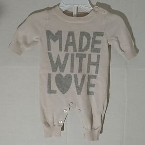 New MADE WITH LOVE Sweater Romper Onesie